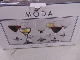 Moda   Wine Glassset of 12   NIB