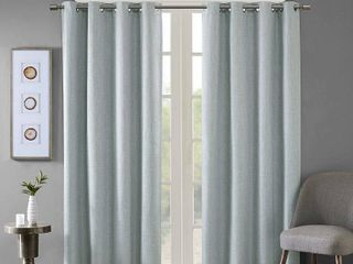 PAIR OF 84 x50  Rune Printed Heathered Blackout Curtain Panel Aqua