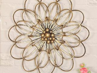 Adeco Trading Flower Urban Design Metal Wall D cor