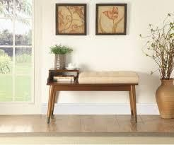Fabric Upholstered Wooden Bench with Pad