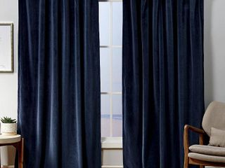 PAIR OF 84 x54  Velvet Back Tab light Filtering Window Curtain Panels Navy   Exclusive Home