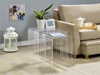 Clear Acrylic Nesting Tables  Set of 3  Retail 207 92
