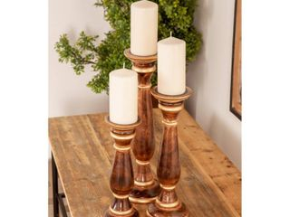 Set of 3 Traditional 12  15 and 18 Inch Brown Baluster Candle Holders