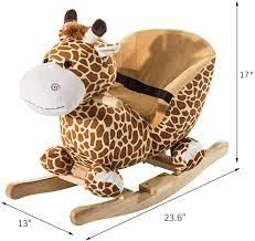 Qaba Kids Plush Rocking Horse Style Giraffe Theme Chair