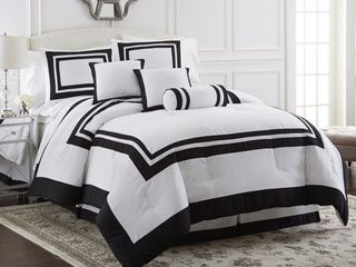 Chezmoi Collection 7 Piece Caprice White with Black Square Pattern Hotel Comforter Set  Queen