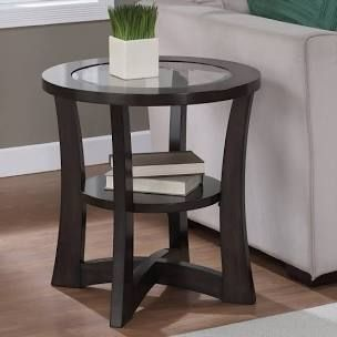 Copper Grove Eclipse Espresso Glass Top End Table  Retail 123 99