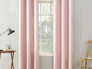 PAIR OF 63 x40  Sora Casual Textured light Filtering Grommet Top Curtain Panel Pink   No  918