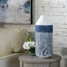 StyleCraft Cree 20 inch White and Blue Distressed Checkered Cylinder Metal Vase