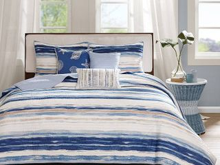 KING CAl KING Home Essence Fairbanks Quilted 6 Piece Coverlet Set