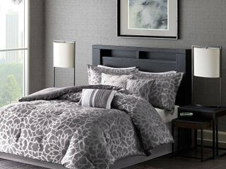 QUEEN 7 Piece luxury Comforter Set in Grey Geometric Floral Print  Queen