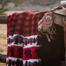 Denali Bear Plaid Throw Blanket 60x50
