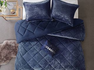 4pc King California King Alyssa Velvet Comforter Set   Navy