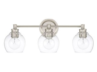 Capital lighting Mid century Collection Polished Nickel Glass Steel 3 light Bath Vanity light  Retail 220 00