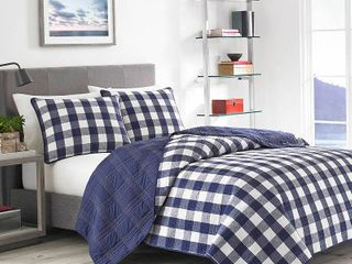 Full Queen lake House Plaid Quilt Set Blue   Eddie Bauer