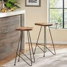 PAIR OF Odessa Wood Bar Stools by Christopher