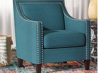 Teal linen Accent Armchair for living Room with Nailheads  Retail 306 49