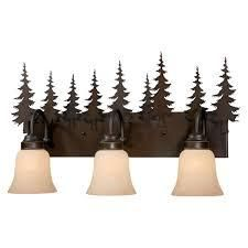 Yosemite 3 light Bronze Rustic Tree Bath Vanity light