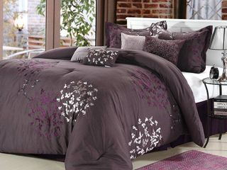 QUEEN Chic Home 25CQ104 US Cheila Embroidered Comforter Set   Plum   Queen   8 Piece
