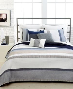 PAIR OF Nautica Tideway Quilted Standard Pillow Shams
