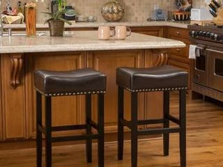 PAIR OF louigi 30 inch Brown Backless leather Bar Stools Brown