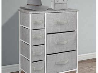 Sorbus Dresser with 7 Drawers   Furniture Storage Tower Unit for Bedroom  Hallway  Closet  Office Organization   Steel Frame  Wood Top  Easy Pull Fabric Bins  Grey