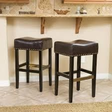 SET OF 2 louigi 30 inch Brown Backless leather Barstools Brown