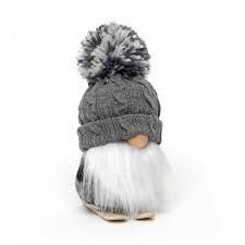 Gnome on Skis with Giant Pom Hat Grey 7  Tall