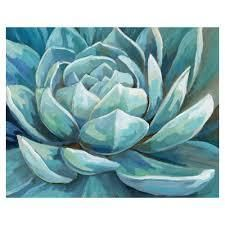 Cerulean Succulent by Nan Wrapped Canvas