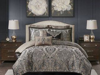 Madison Park Signature Grandover Queen 8 Pc  Jacquard Comforter Set Bedding