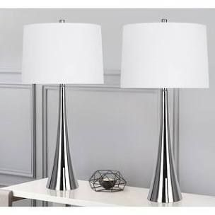 2 5a Metal Table lamp Set With Tapered Curve Design and Off White linen Drum Shade
