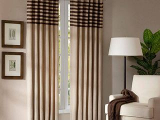 42 x 84   Beige  Madison Park Dune Microsuede Beige Curtain Panel Pair