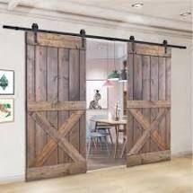 Paneled Wood Painted Double Barn Door DX Series  Set of 2  Retail 1023 49