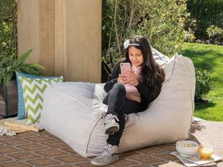 Tulum Outdoor Water Resistant Fabric Bean Bag lounger by Christopher Knight Home  Retail 122 99