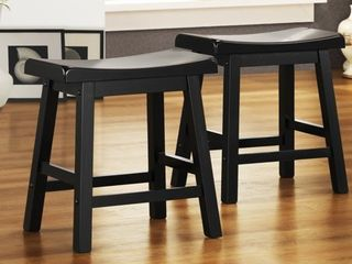 Weston Home Ashby Kitchen Stools 18  Set of 2  Black Rubbed