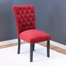 Deep Red Velvet Tufted Dining Chair