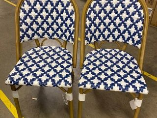 Gold  White  Blue Outdoor Dining Chairs