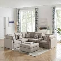 MIDDlE PIECE ONlY  Beige  Amira Beige Fabric Reversible Modular Sectional Sofa with USB Console and Ottoman  Retail 2079 48