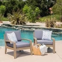 SINGlE Gray  Grenada Outdoor Cushioned Wood Club Chairs by Christopher Knight Home Retail 422 49