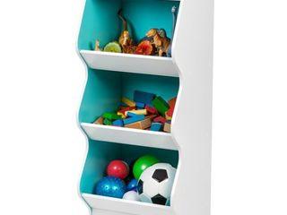 IRIS 3 tier White and Blue Curved Edge Storage Shelf