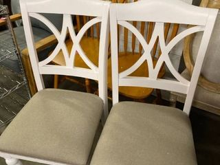 White and Tan Dining Chairs  Set of 2