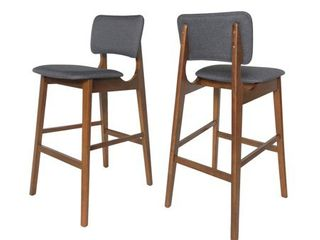 Fessenden 42  Wooden Bar Chair with Fabric Seats  Set of 2  by Christopher Knight Home  Retail 199 99