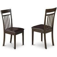 East West Furniture Capri dining chairs   Faux leather Seat and Mahogany Hardwood Frame dining chair set of 2