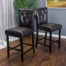 Brown Tufted leather Barstools  Set of 2