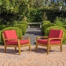 SINGlE Red  Grenada Outdoor Cushioned Wood Club Chairs by Christopher Knight Home Retail 422 49