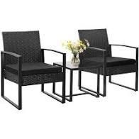 Walnew Patio Furniture Cushioned PE Rattan Bistro Chairs Set of 2 with Table  3 Piece