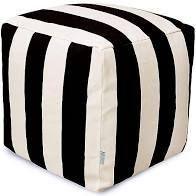 Majestic International Vertical Stripe Bean Bag Ottoman in Black White