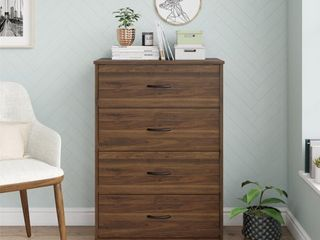 Mainstays Classic 4 Drawer Dresser  Walnut Finish