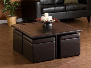 Crestfield Dark Brown Coffee Table  Storage Ottoman Set Retail 353 49