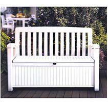 Keter Resin Storage Bench   Plastic Patio Seating  White