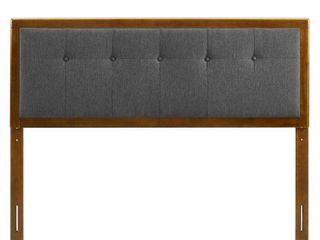 MODWAY Draper Tufted in Walnut Charcoal Queen Fabric and Wood Headboard